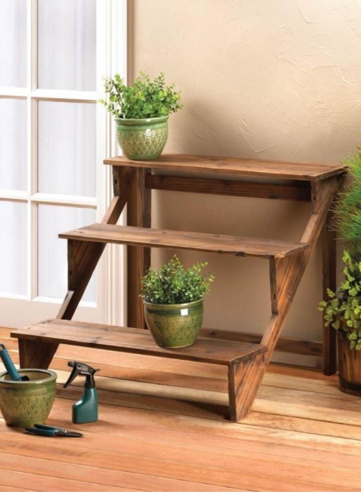 3 Tier Outdoor Wood Plant Stand Wooden Plant Stands Wood Plant Stand Plant Stand