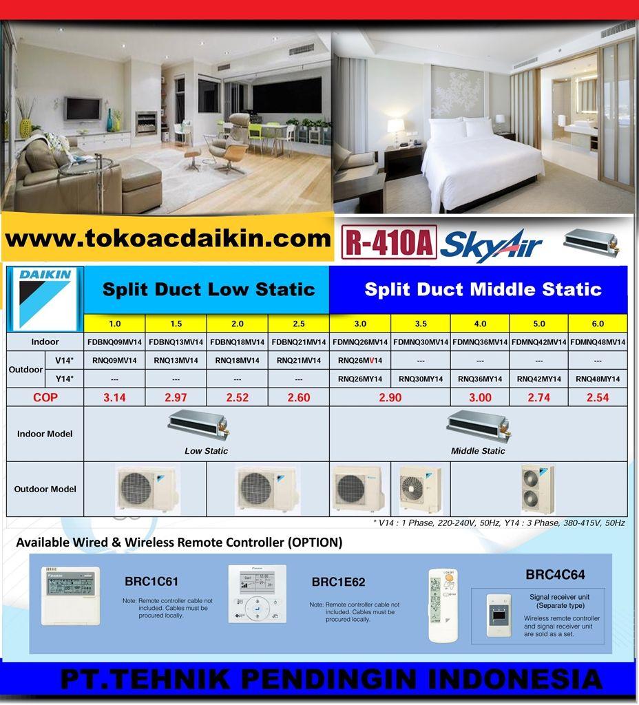 Ac Split Duct Daikin 1pk Low Static Daikin Airconditioner