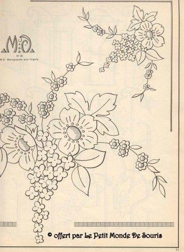 modèle broderie fleur gratuit | Embroidery patterns ...