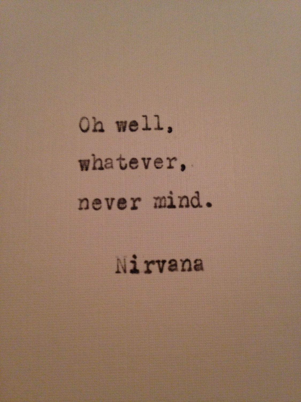 Kurt Cobain Nirvana typed on antique typewriter gift girlfriend boyfriend husband wife wedding present birthday christmas