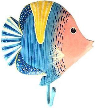 Tropical Fish Hook   Hand Painted Metal Bathroom Decor   Tropical Decorating,  Tropical Home Decor