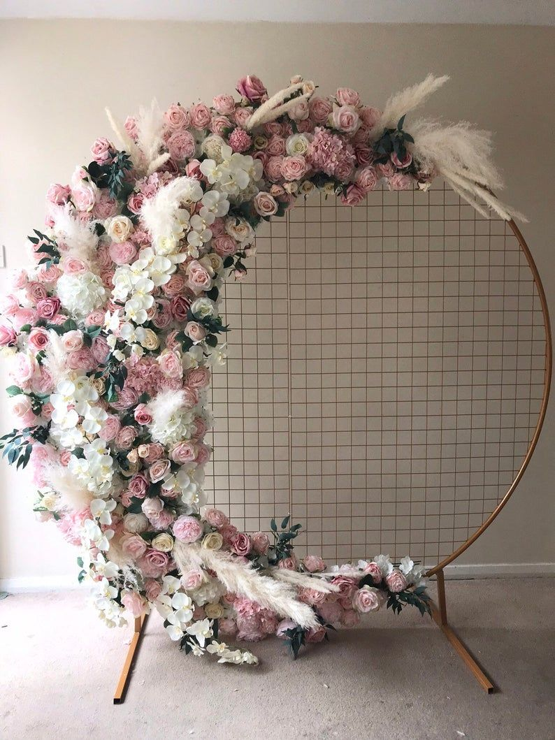 Mesh gold arch, flower wall, floral wall, flower s