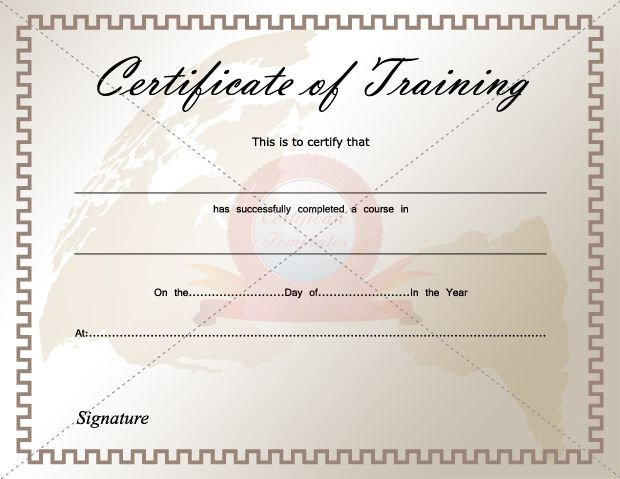 Certificate Of Training   Certificate Templates