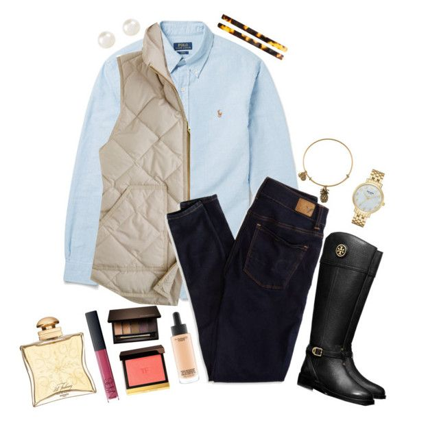 """""""Ephemeral"""" by sunglamourandpreppiness ❤ liked on Polyvore featuring Polo Ralph Lauren, J.Crew, American Eagle Outfitters, Alex and Ani, MAC Cosmetics, Tom Ford, Clarins, NARS Cosmetics, Hermès and Tory Burch"""