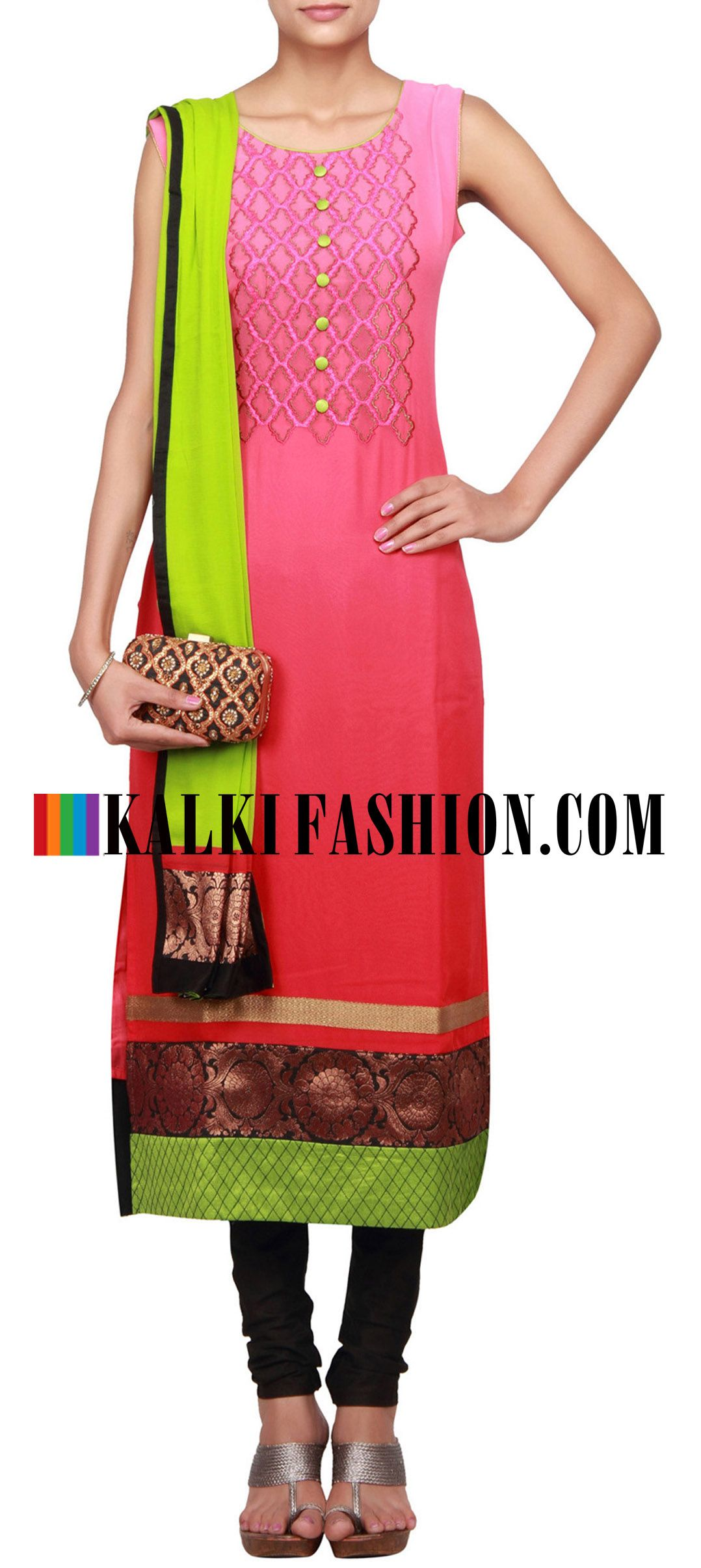 Buy Online from the link below. We ship worldwide (Free Shipping over US$100)  http://www.kalkifashion.com/peach-straight-fit-suit-embellished-in-zari-only-on-kalki.html