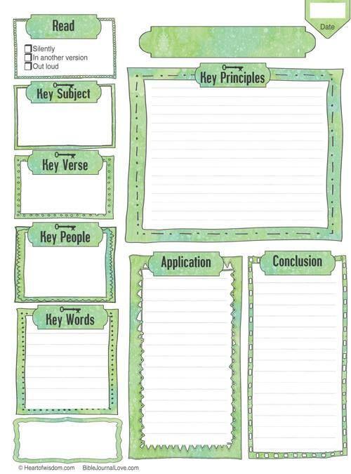 Free bible journal key worksheet printable, download color