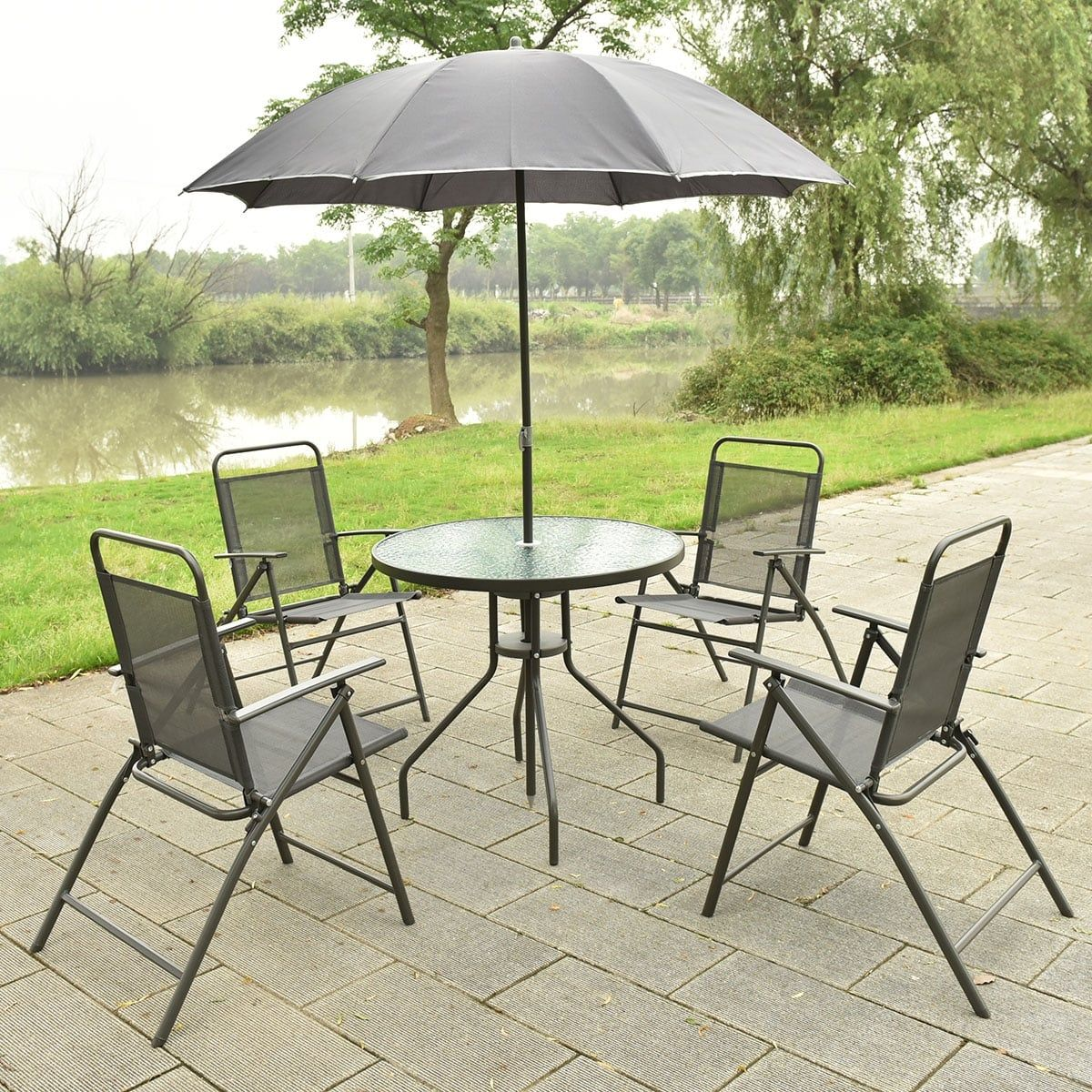 Costway 6 Pcs Patio Garden Set Furniture Umbrella Gray With 4