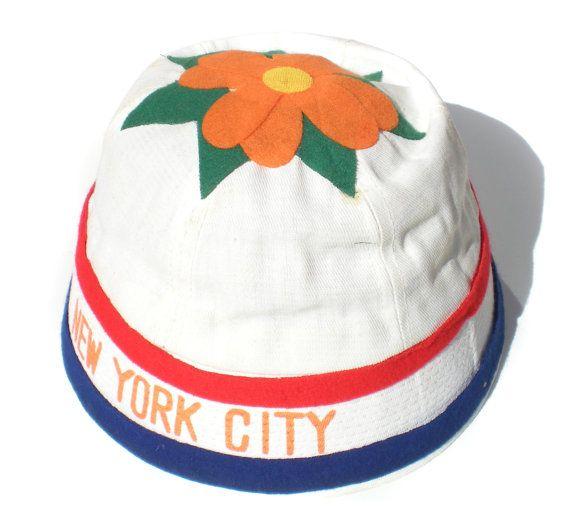 Vintage NYC Novelty Beanie Hat Felt Novelty Fair Boardwalk Prize Souvenir Red White Blue Orange Flower 50s or 60s Question Mark Size 7