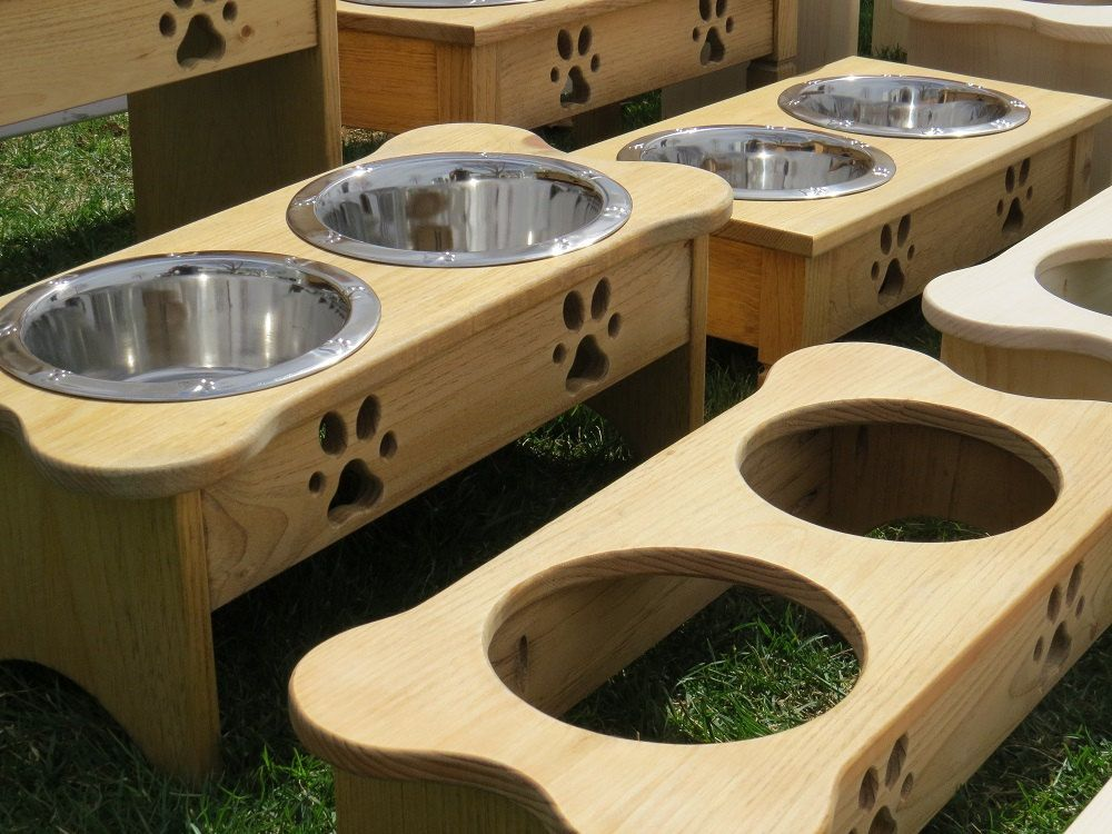 Handmade Dog Bowl Elevated Wood Stand ALL SIZES Bone ...