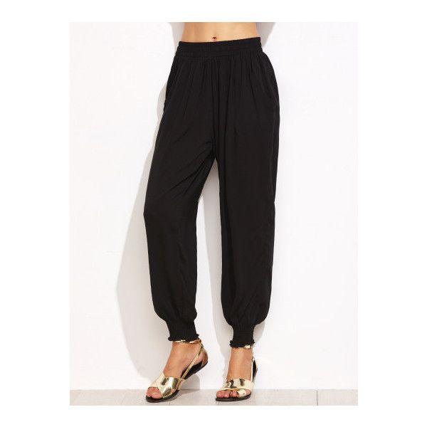 SheIn(sheinside) Black Elastic Waist Shirred Hem Harem Pants ($19) ❤ liked on Polyvore featuring pants, black, long harem pants, rayon pants, elastic waistband pants, harem pants and harem trousers