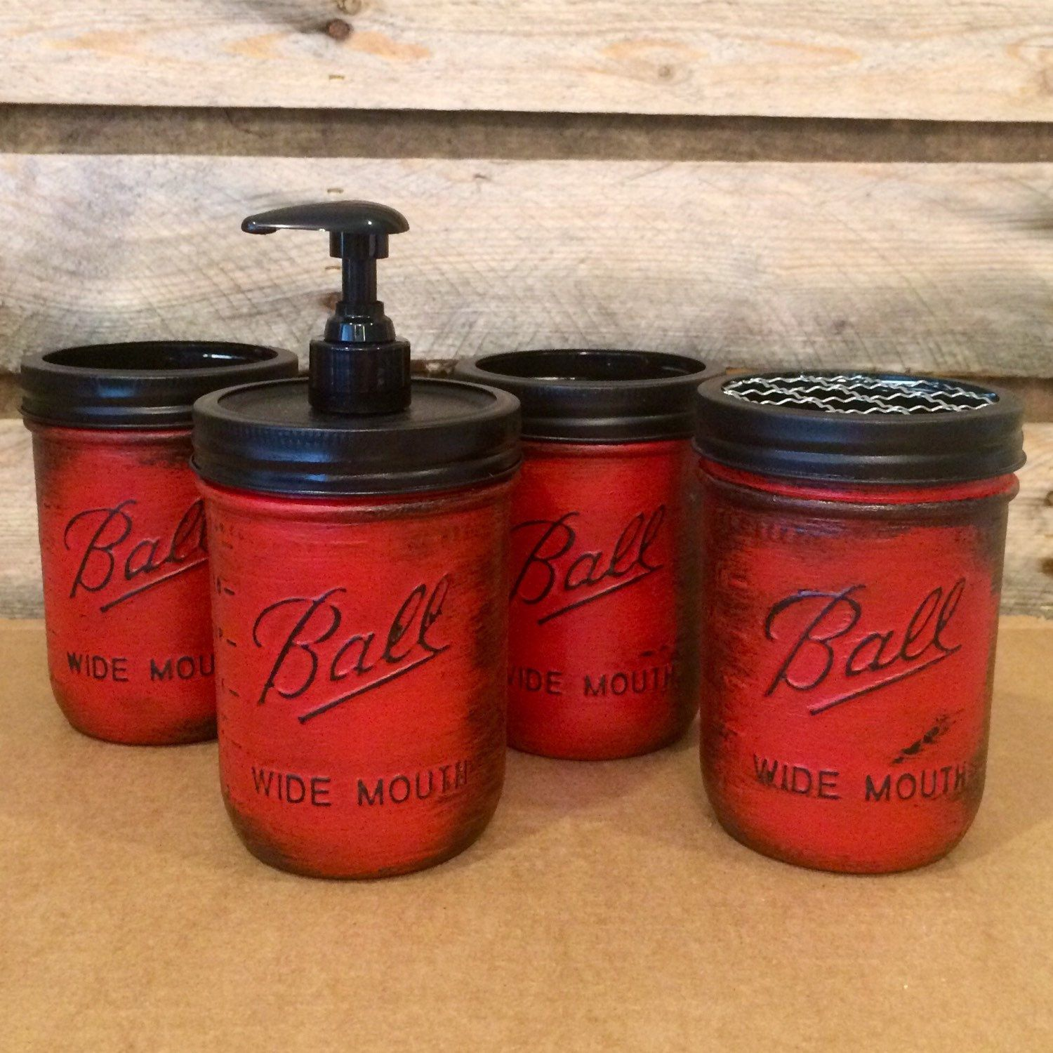 Just added this beautiful rustic red mason jar bathroom or desk set