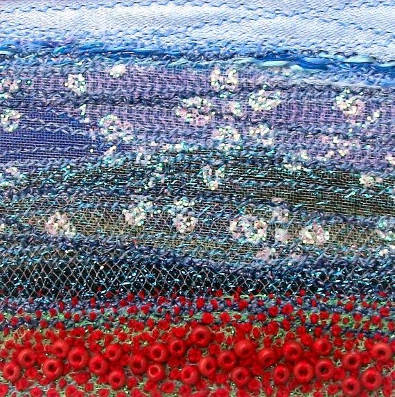 Field of poppies embroidered beaded landscape by StitchMikki