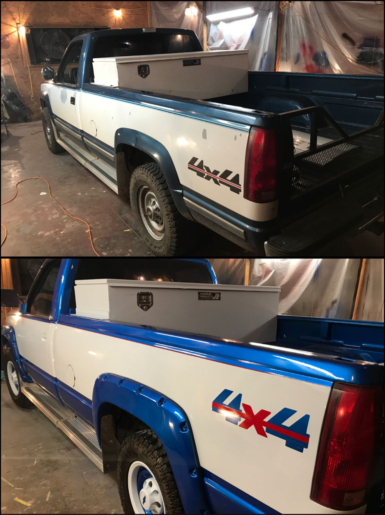 Custom Paint Job Chevy Silverado Has Red Pinstripe And All Inlaid Truck Photos Graphics By Jason Perry Intense Metallic Blue With Winter White