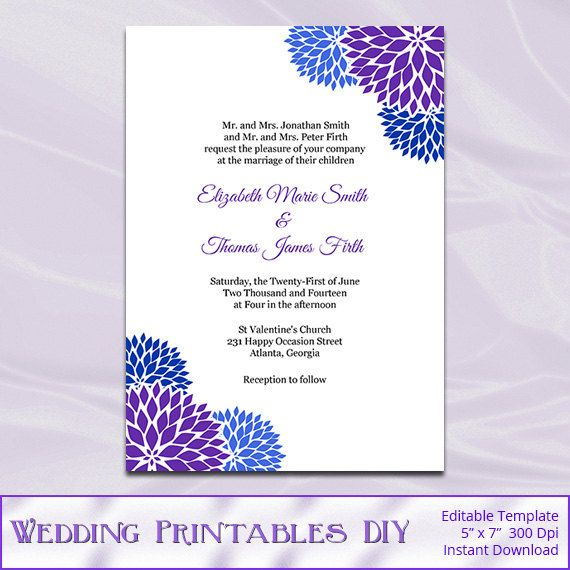 Royal Blue and Purple Wedding Invitations by WeddingPrintablesDiy ...