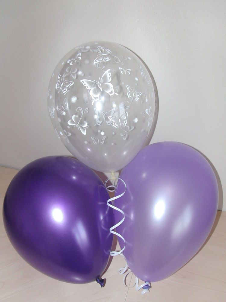 Purple Lilac Amp Clear Printed Butterfly Wedding Balloons