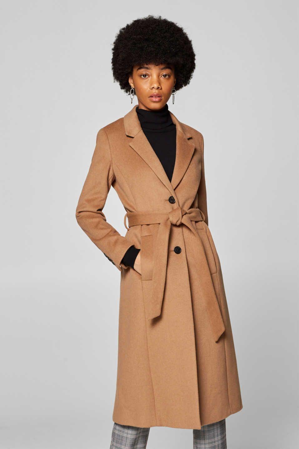 Esprit Met Wol Kasjmier Blazermantel Met Ceintuur Coat Blazer Coat Fashion [ 1436 x 958 Pixel ]