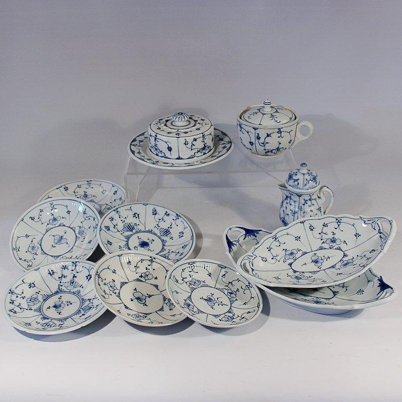 Rauenstein konvolut blaue marke strohblumen dekor tlw gerippt 2 ovale schalen 1 - Keramikkugeln blau garten ...