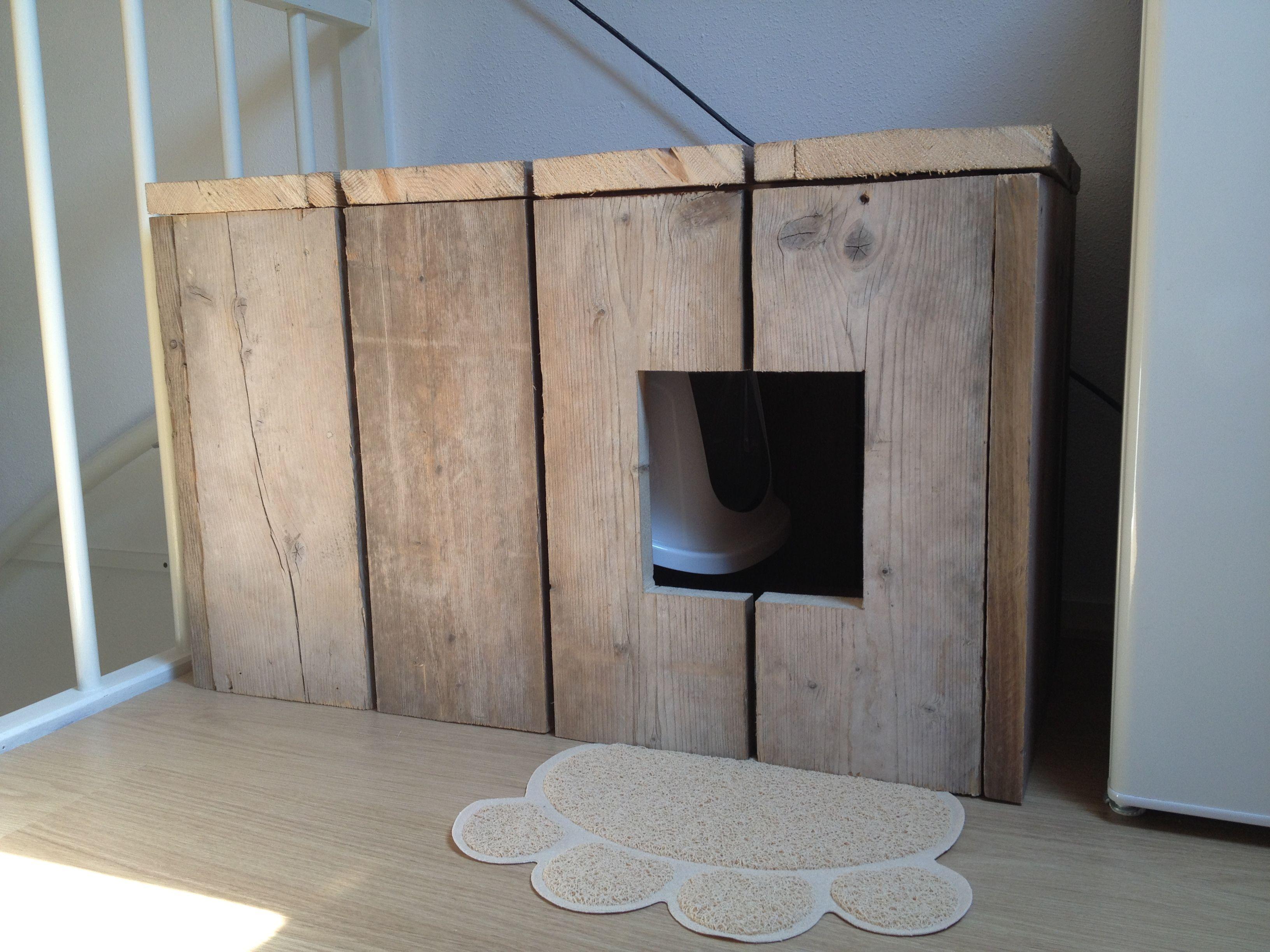 Beste Een hok van steigerhout waar je de kattenbak in kan zetten! | Fur QV-08