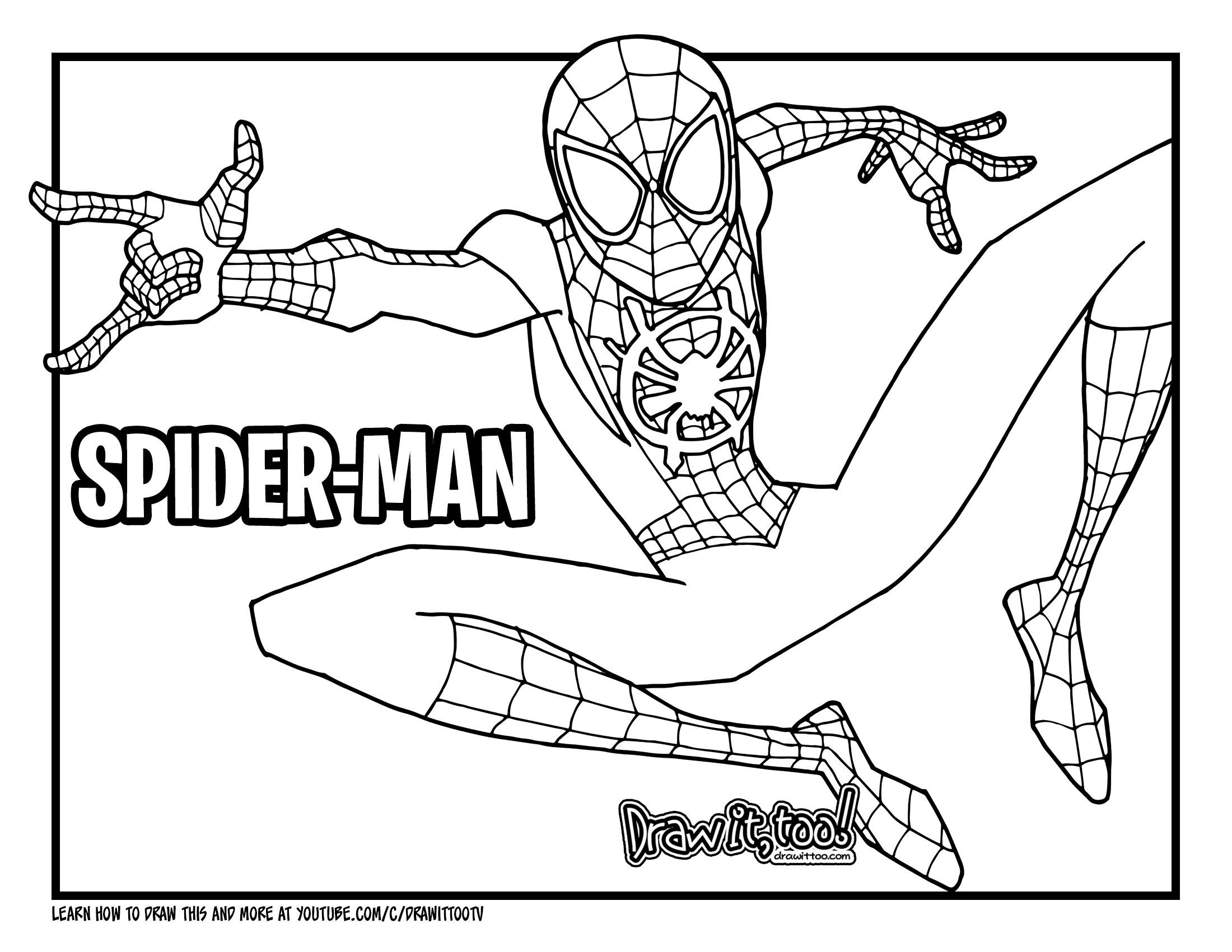Spider Man Into The Spider Verse Is Just Around The Corner And With That I Think It S About Time We Draw The Spiderman Coloring Coloring Books Coloring Pages