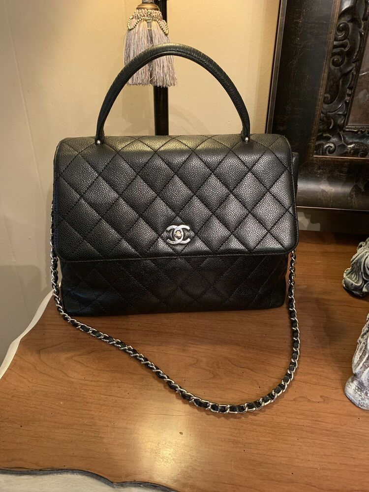 08b31e7a3737 CHANEL Classic Vintage Kelly Top Handle Flap Bag Black Caviar Quilted Jumbo  Size