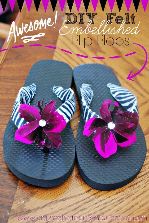 da490c330918d9 DIY Felt Embellished Flip Flops Craft Tutorial