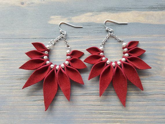 Photo of Leather Earrings. Big Statement Earrings. Dangle Earrings. Red Earrings. Leather Hoop Earrings. Large Earrings. Leather Statement Jewelry.