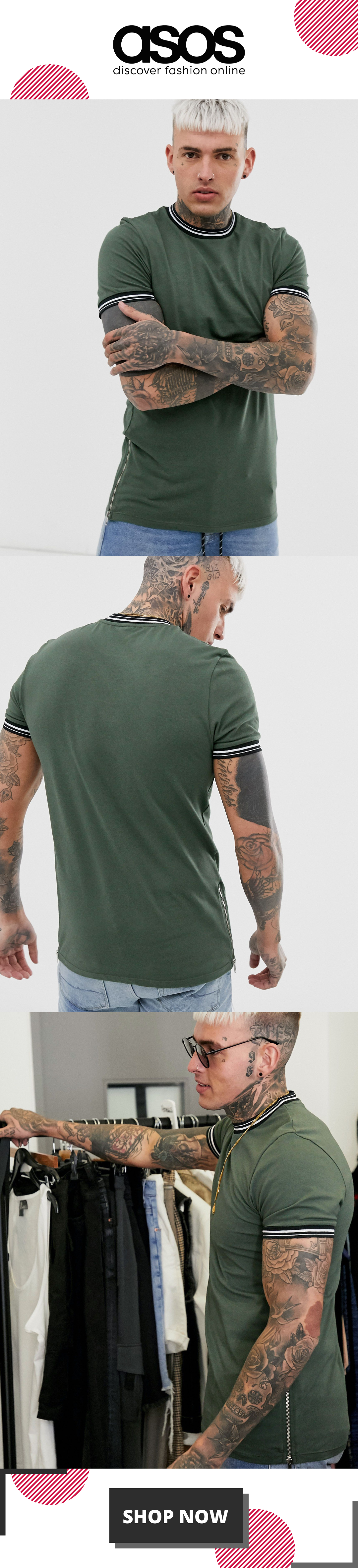 ASOS DESIGN skinny longline t-shirt with stretch and tipping and side zips in khaki