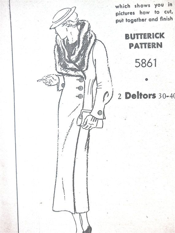 1930s coat sewing pattern by Butterick 5861.  Bust 36 inches