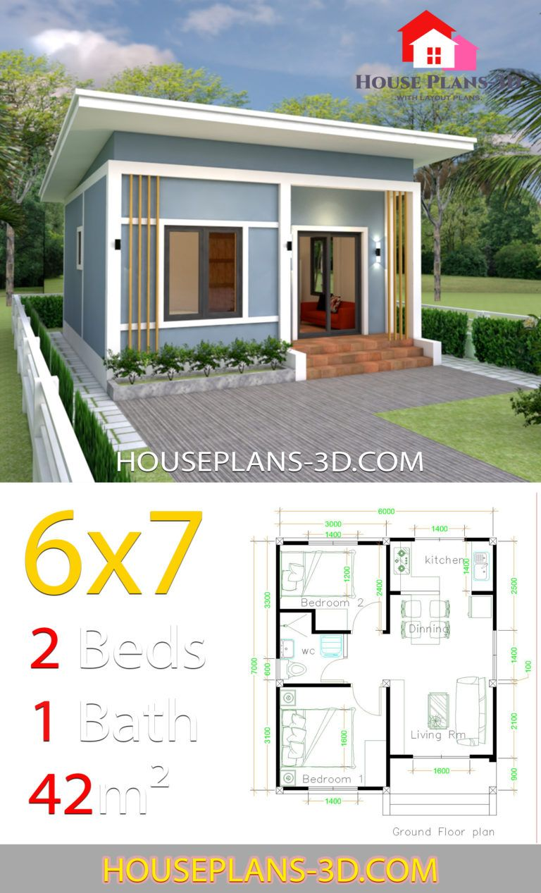 Simple House Plans 6x7 With 2 Bedrooms Shed Roof House Plans 3d In 2020 House Roof Small House Design Plans One Bedroom House