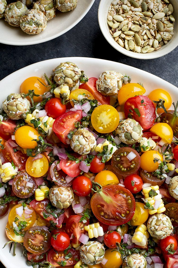 Heirloom Cherry Tomato Salad with Toasted Seeded Chèvre