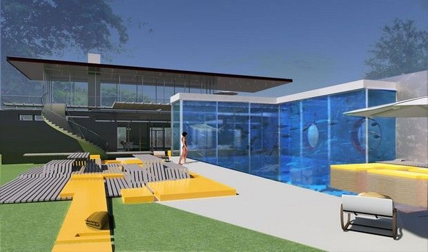 A bespoke pool and aquarium complex by Okeanos Aquascaping ...