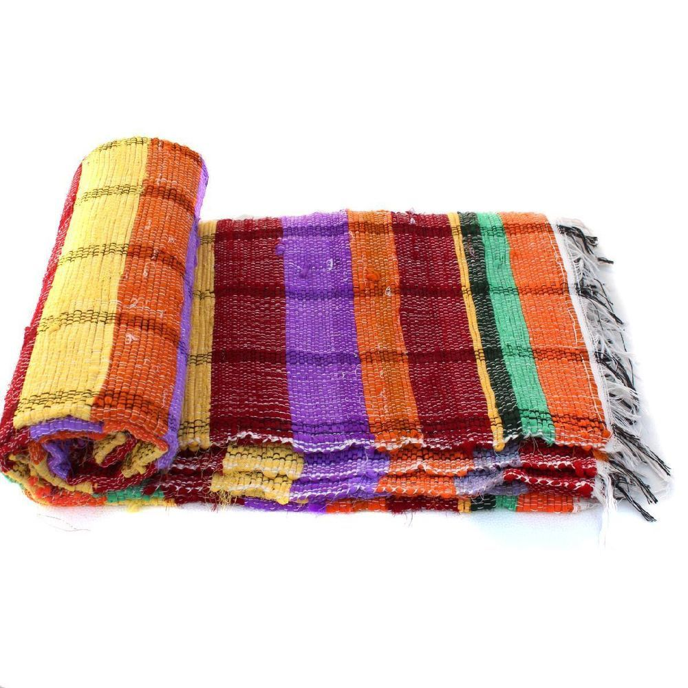 Handloomed Rag Rug Yoga Mat Handmade Saree Chindi Carpet