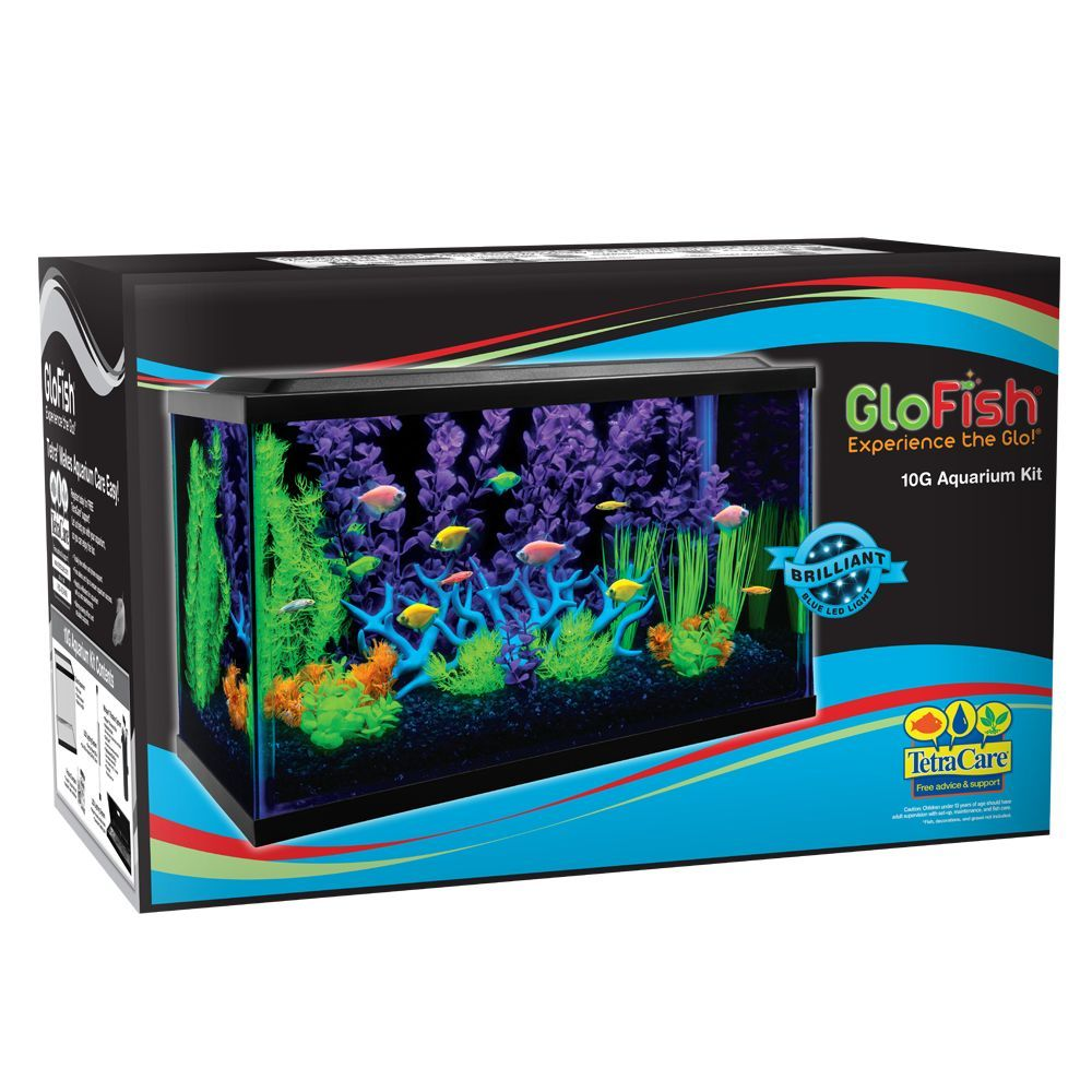 Glofish 10 Gallon Aquarium Kit Size 10 Gal Black Blue Aquarium Kit Aquarium Tropical Fish Tanks
