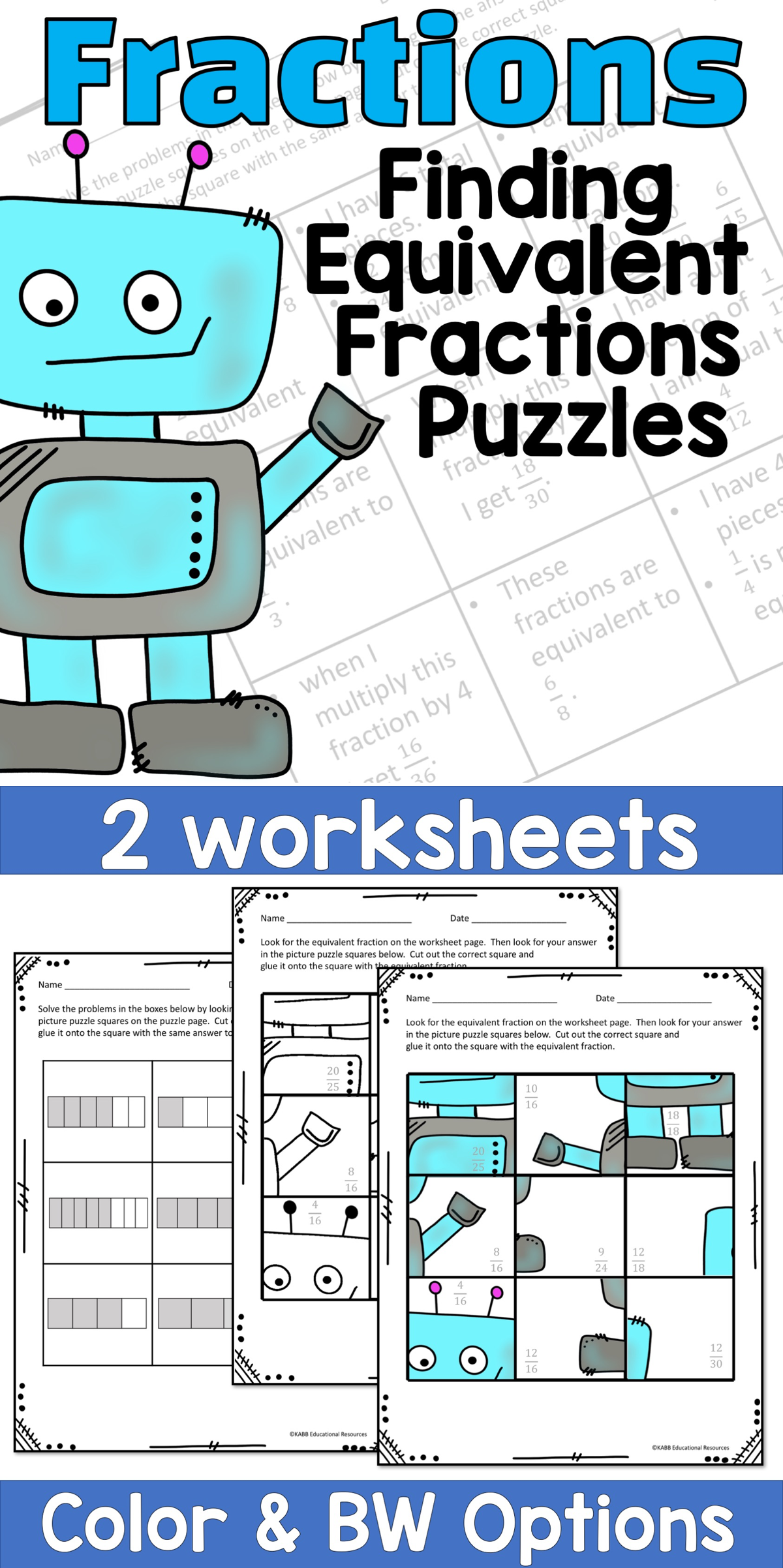 Equivalent Fractions Puzzle Pages