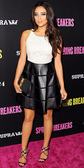 Shay Mitchell in a Sachin + Babi dress and strappy sandals at the Hollywood Spring Breakers premiere,