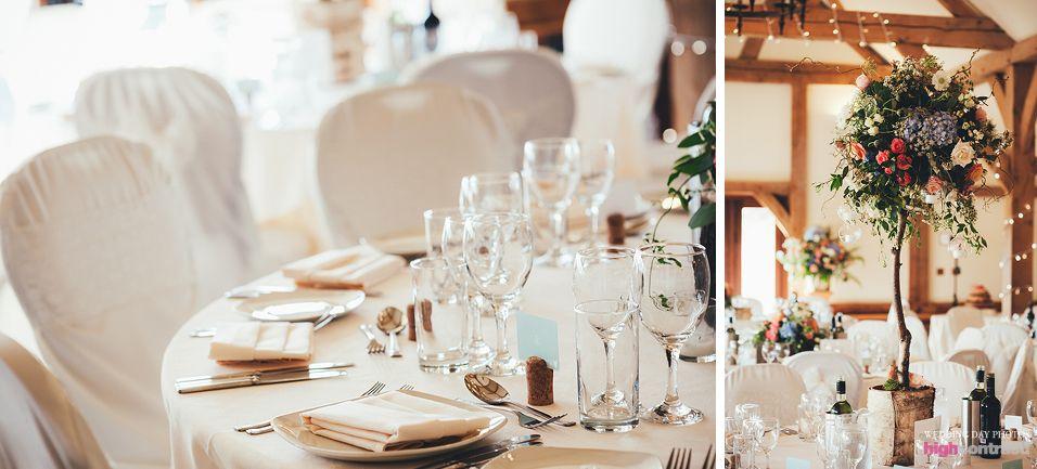 Sandhole Oak Barn Wedding Venue Breakfast Table Decorations