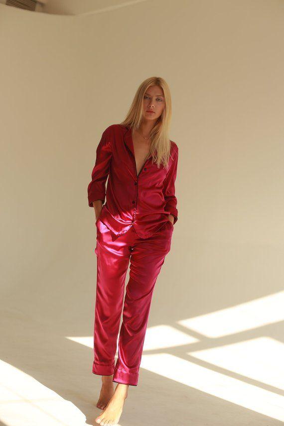 35fb1e2bb416 Pure silk pajamas with pants Pink silk pajamas Fuchsia pajama set Silk  pajamas sale