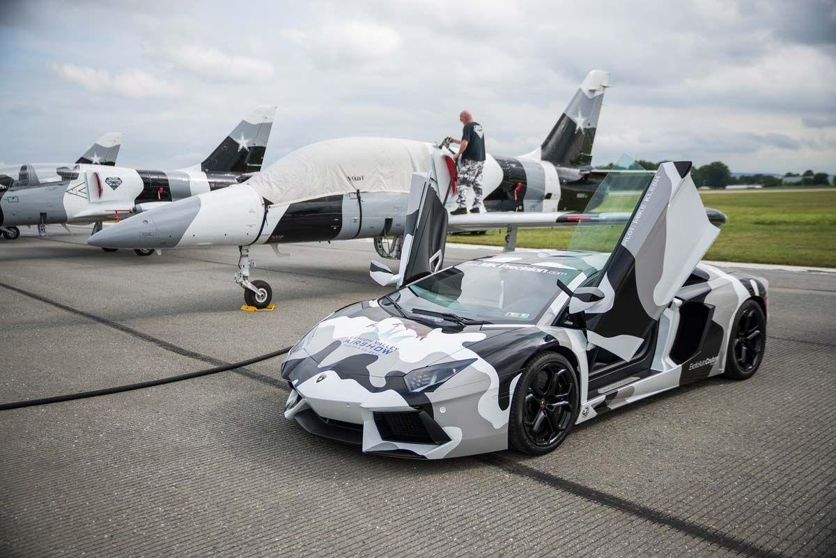 Camo Lamborghini Aventador With Fighter Jets Cars