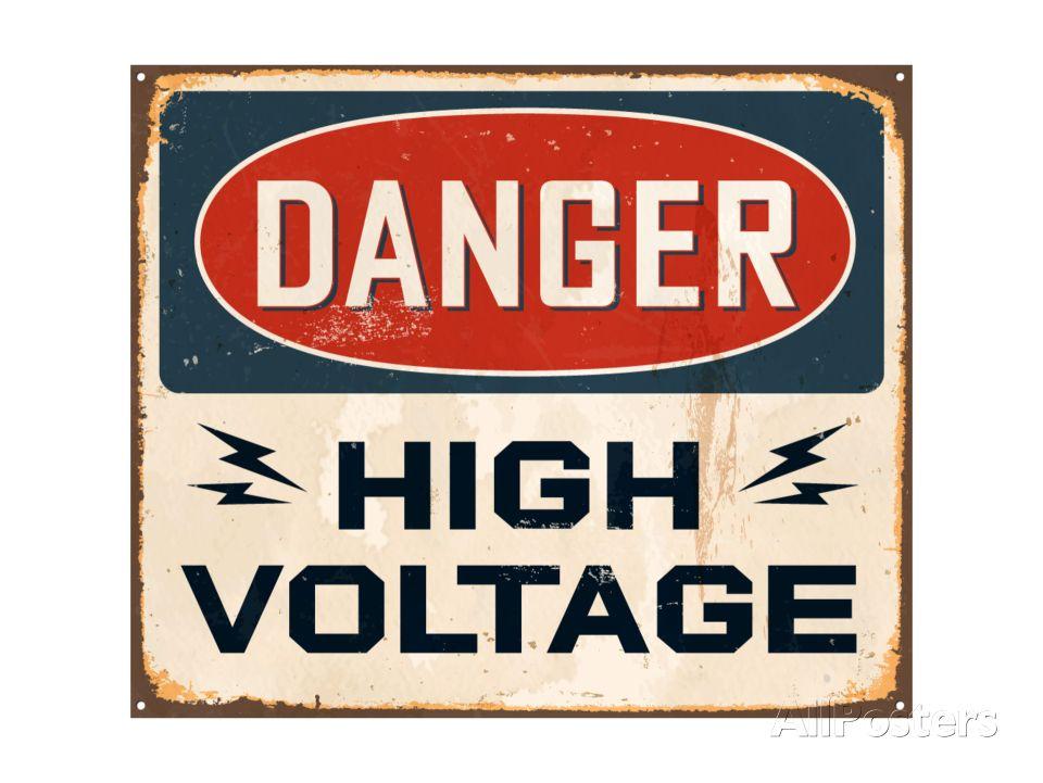 Vintage Design Danger High Voltage Art Real Callahan Allposters Com In 2020 Vintage Metal Signs Metal Signs Metal Posters Retro