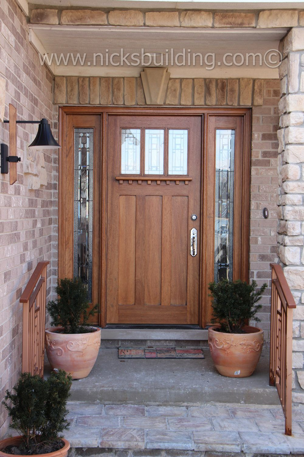 Craftsman Style Entrance Door In A Golden Oak Stain Color