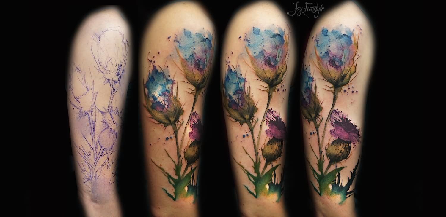 Watercolor Tattoo Design For Half Sleeve By Joel Wright Watercolor Poppy Tattoo Watercolor
