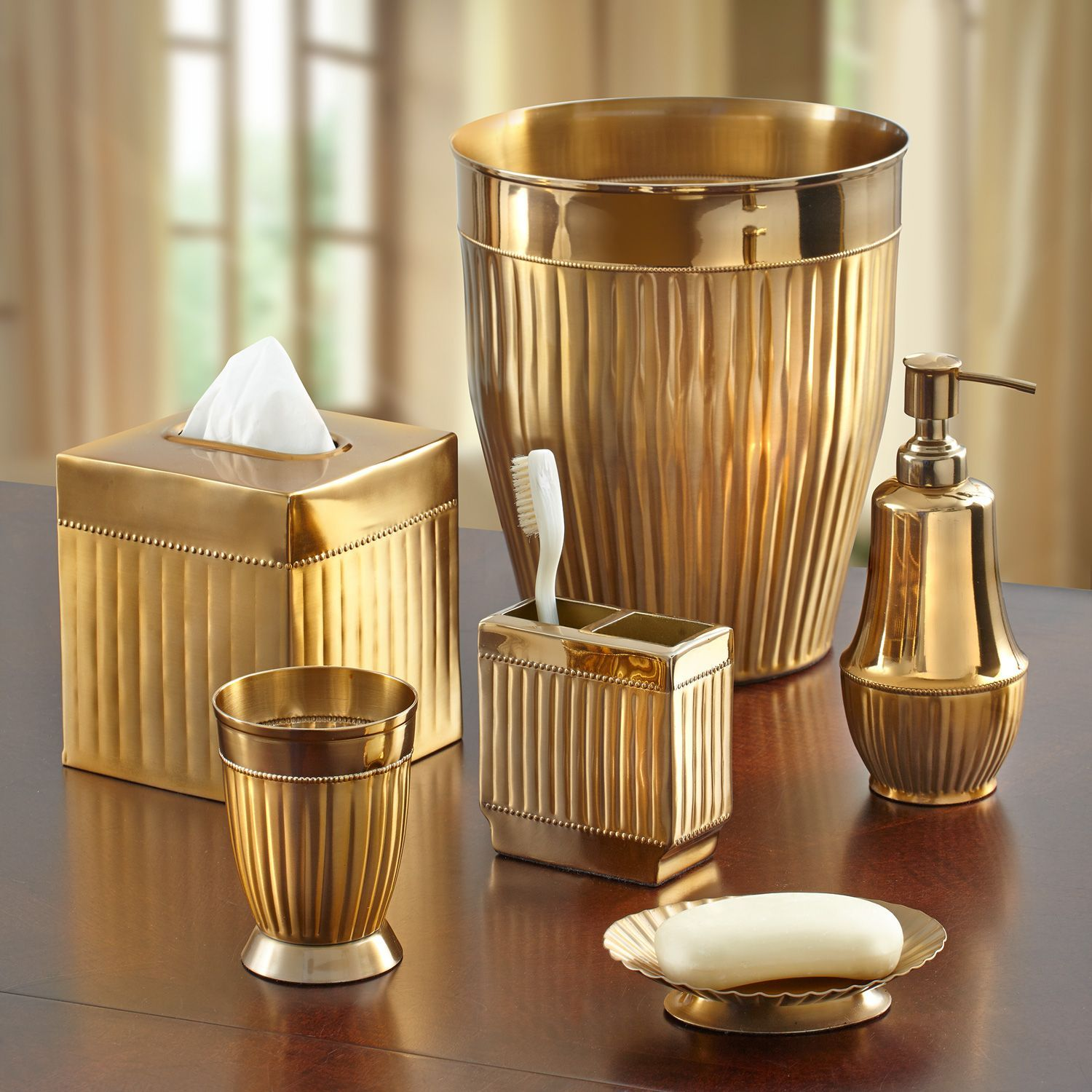 The Luciano Bathroom Collection Features Gold Metal Accessories With  Classic Contours, Fluted Surfaces And Beaded
