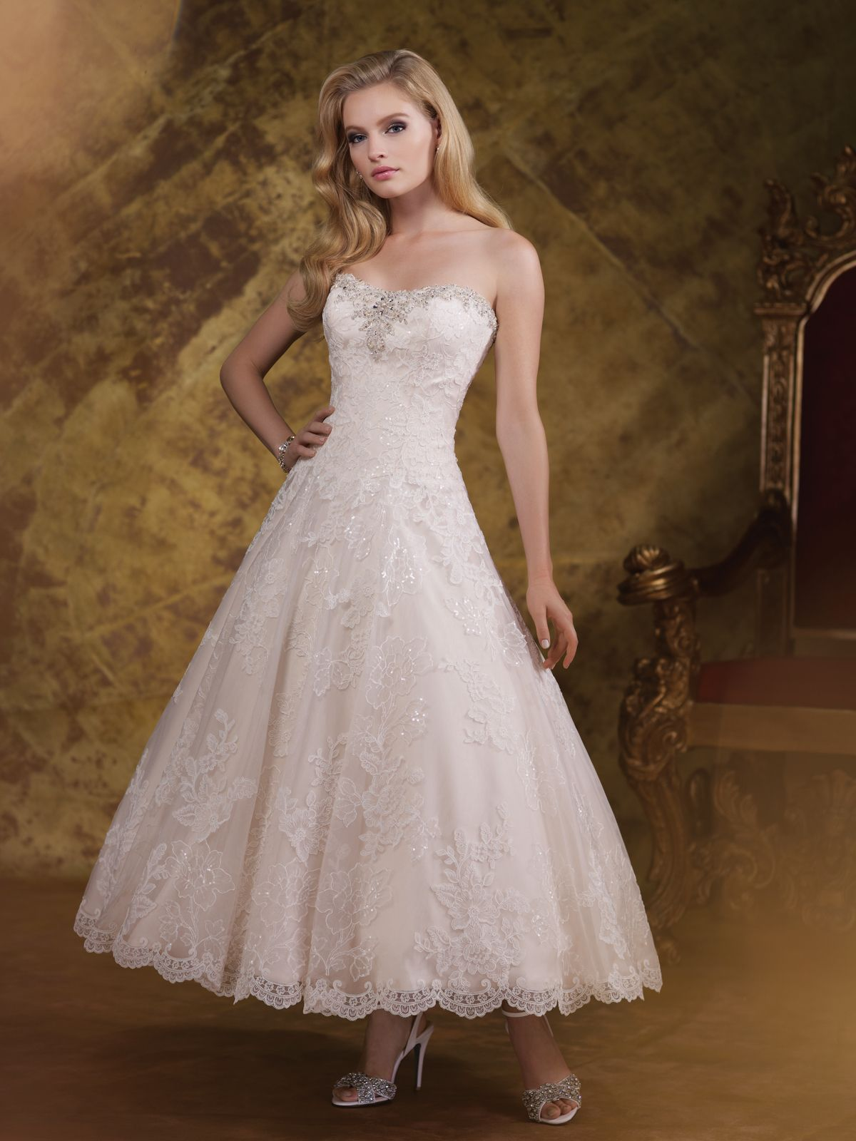 Wedding dresses collection u strapless sequin lace appliqué and