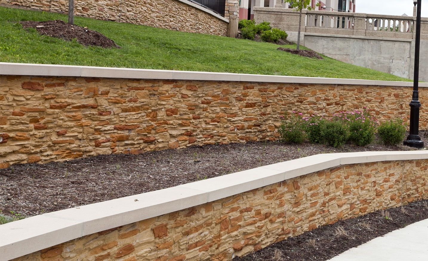 Decorative concrete block wall construction Cinder block retaining wall