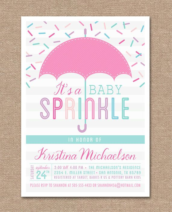 Printable BABY SPRINKLE Invitation - Baby Shower - Pink - Baby - printable baby shower invite