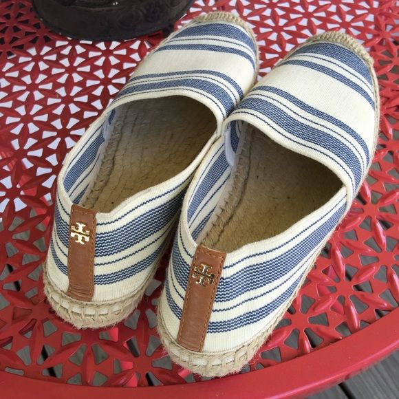 """Tory Burch Stretch Espadrille Tory Burch awning-striped stretch-canvas espadrilles in excellent condition. Worn once! Features: 0.5"""" flat heel. Round, jute-capped toe. Leather backstay. Golden double-T button at heel. Jute midsole and footbed. Rubber/jute outsole. Slip-on style. Made in Brazil.  No flaws other than bottom wear (very minor), does not include box. LS0201 LD101515 100. NO TRADES. Tory Burch Shoes Espadrilles"""