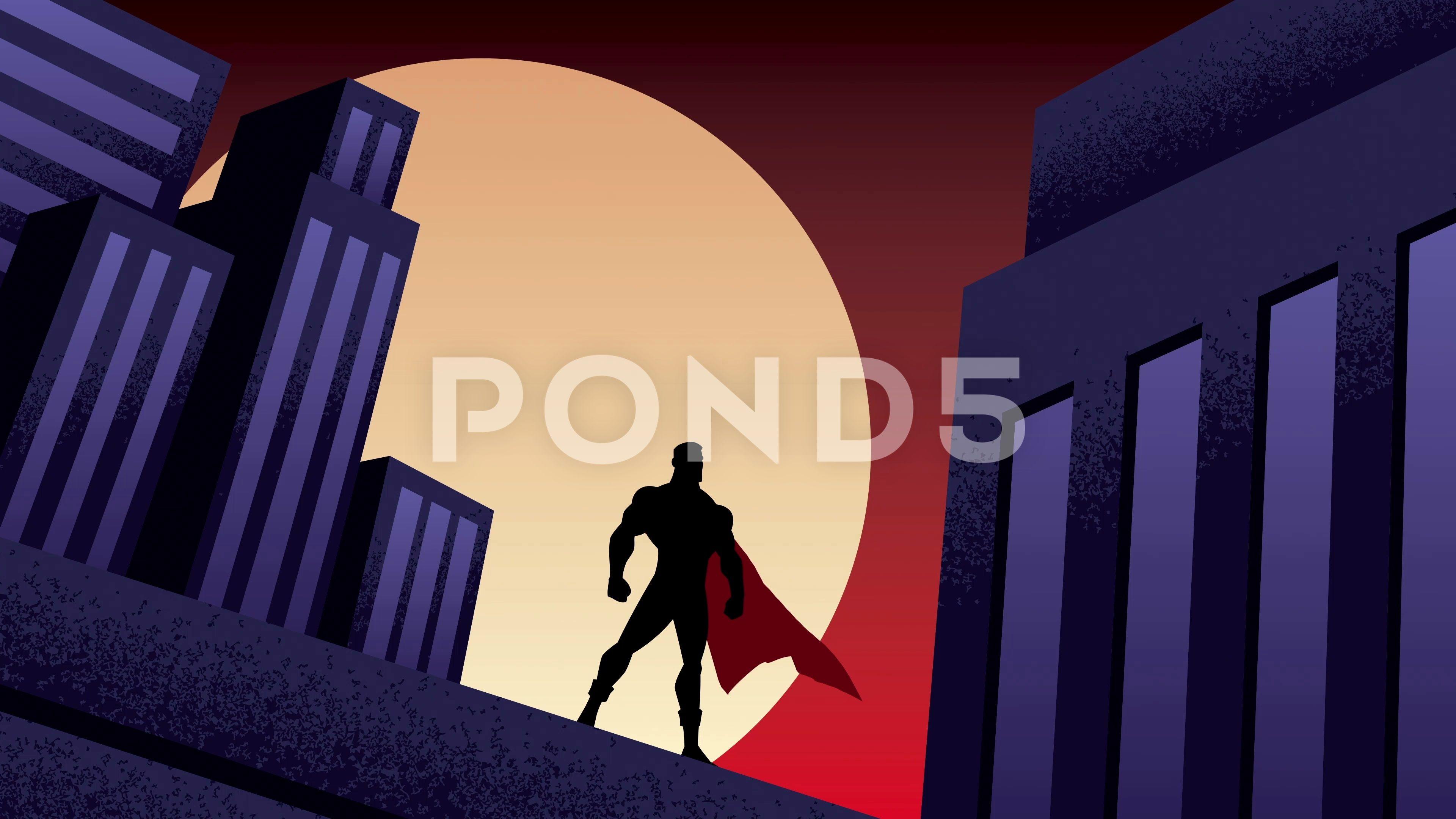 Superhero City Night Animation NightCitySuperheroFootage