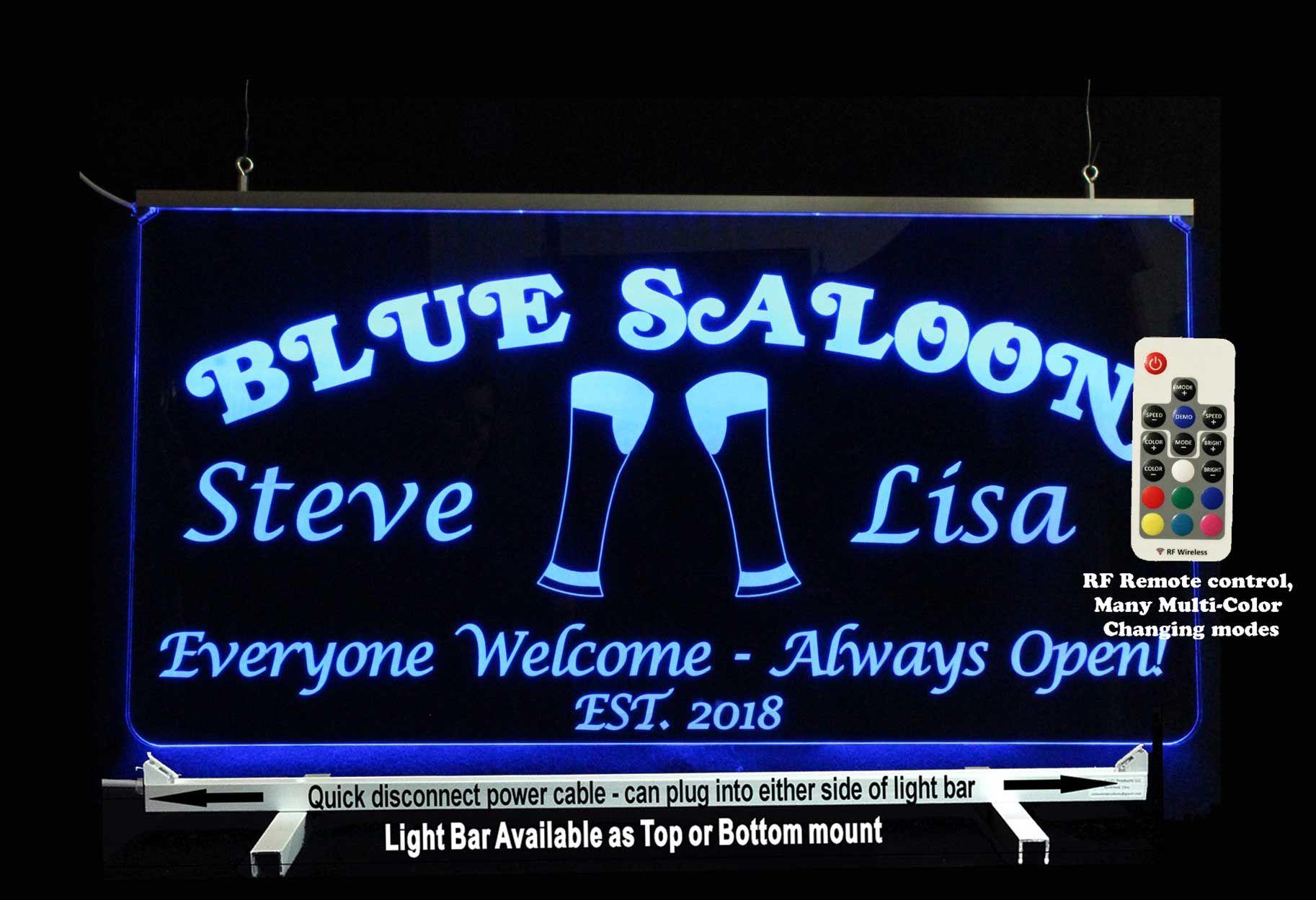 "Custom LED Man Cave sign, Laser Engraved on 3/8\"" clear"