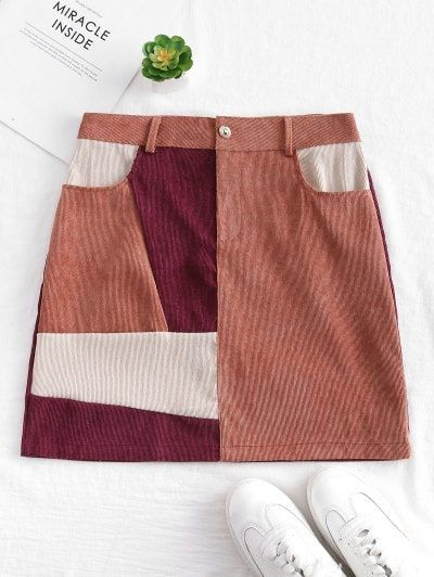 $5 off $50 Sale Special for New Users.Patchwork Corduroy Mini Skirt