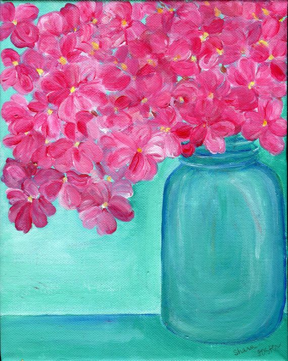 Pink Hydrangea Flowers In A Canning Jar Original Painting ART 8 X 10 Small Format Art SFA